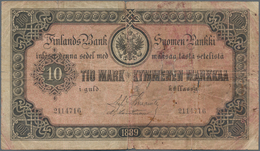 Finland / Finnland: 10 Markkaa 1889, P.A51, Small Border Tears And Tears At Center, Taped On Back. C - Finland