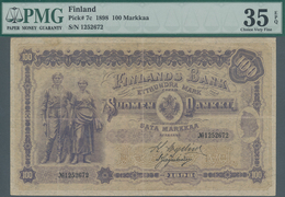 Finland / Finnland: 100 Markkaa 1898, P.7c, Very Nice With A Few Minor Spots And Vertical Fold At Ce - Finland