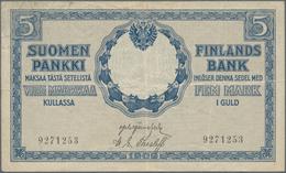 Finland / Finnland: Very Nice Lot With 3 Banknotes 5 Markkaa 1909 P.9 (F+), 500 Markkaa 1909 P.23 (F - Finland
