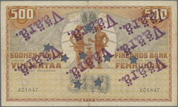 """Finland / Finnland: 500 Markkaa 1909, P.23 With Star Hole Cancellation And Several Stamps """"VÄÄRÄ"""" (c - Finland"""