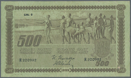 Finland / Finnland: 500 Markkaa 1922, Litt. C, P.66a, Still Nice Note With Small Border Tears, Some - Finland