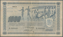 Finland / Finnland: 1000 Markkaa ND(1939) P. 67A, Rare Issue, Used With Vertical And Horizontal Fold - Finland