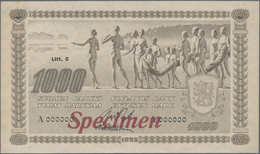 Finland / Finnland: 1000 Markkaa 1922 Litt.C SPECIMEN, P.67s, Highly Rare And Extremely Nice Banknot - Finland