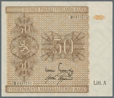 Finland / Finnland: 50 Markkaa 1945 Litt. A, P.79A, Traces Of A Paper Clip At Upper Margin And Verti - Finland