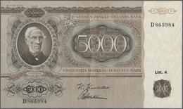 Finland / Finnland: 5000 Markkaa 1945 P. 83a, Vertically And Horizontally Folded, Light Stain On Bac - Finland