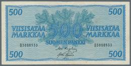 Finland / Finnland: Pair With 100 Markkaa 1955 P.91 In VF- With Rusty Spots And 500 Markkaa 1956 P.9 - Finland