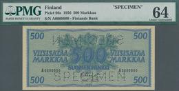 Finland / Finnland: 500 Markkaa 1956 SPECIMEN, P.96s In UNC, PMG Graded 64 Choice Uncirculated - Finland