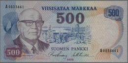 Finland / Finnland: 500 Markkaa 1975 P. 110b, 4 Vertical Folds And Light Handling In Paper But Still - Finland
