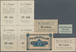 Finland / Finnland: Nice Group Of Notgeld Issues Comprising 5 Pennia Kirjola ND, 50 Pennia Salo ND, - Finland