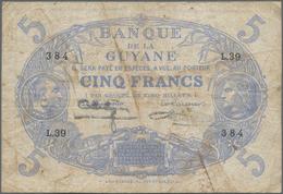 French Guiana / Französisch-Guayana: Banque De La Guyane 5 Francs L. 1901 (1922-1947), P.1, Still St - French Guiana