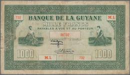 French Guiana / Französisch-Guayana: Banque De La Guyane 1000 Francs ND(1942), Extraordinary Rare Ba - French Guiana