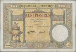 French Indochina / Französisch Indochina: 100 Piastres ND(1925-39) P. 51d, S/N 04086092 M.164, Used - Indochina