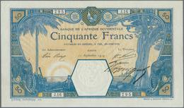 French West Africa / Französisch Westafrika: 50 Francs 1919 DAKAR P. 9Ba, Very Rare Early Date In Ex - West African States