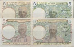 French West Africa / Französisch Westafrika: Banque De L'Afrique Occidentale Set With 4 Banknotes Co - West African States