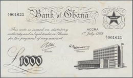 Ghana: Bank Of Ghana 1000 Pounds 1958, P.4, Unfolded With A Few Minor Creases And Tiny Spots. Condit - Ghana