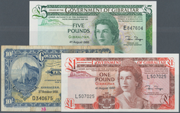 Gibraltar: Set Of 3 Banknotes Containing 10 Shillings 1958 P. 14c, Used With Folds And Stain In Pape - Gibraltar