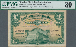 Gibraltar: 1 Pound 1954, P.15c, Lightly Toned Paper And A Few Folds, PMG Graded 30 Very Fine - Gibraltar