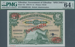 Gibraltar: 1 Pound 1971 SPECIMEN, P.18s In UNC, PMG Graded 64 Choice Uncirculated EPQ - Gibraltar
