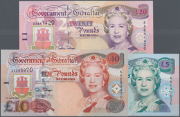Gibraltar: Set Of 3 Notes Containing 5, 10 & 20 Pounds 1995 P. 25-27 In Condition: UNC. (3 Pcs) - Gibraltar