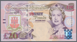 Gibraltar: Set Of 3 Notes Containing 5, 10 & 20 Pounds 2000-2004 P. 29-31, All In Condition: UNC. (3 - Gibraltar