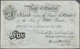 Great Britain / Großbritannien: 5 Pounds 1921 P. 312a, Issued In London, Early Date, Folded But No H - Gran Bretagna