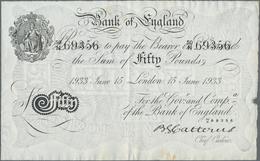 Great Britain / Großbritannien: Set Of 2 CONSECUTIVE Banknotes Bank Of England 50 Pounds 1933 Operat - Gran Bretagna