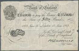 Great Britain / Großbritannien: 50 Pounds 1933 Operation Bernhard Note In Used Condition With Severa - Gran Bretagna
