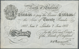 Great Britain / Großbritannien: 20 Pounds 1937 P. 337a Issued In London, Center Fold, No Other Folds - Gran Bretagna