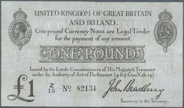 Great Britain / Großbritannien: 1 Pound ND(1914) P. 349a, Stronger Center Fold With A 7mm Tear On To - Gran Bretagna