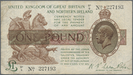 Great Britain / Großbritannien: 1 Pound 1928 P. 361b In Used Condition With Folds And Stain In Paper - Gran Bretagna