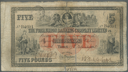 Great Britain / Großbritannien: The York Union Banking Company Ltd. 5 Pounds 1898, Old Used Note Wit - Gran Bretagna