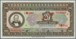 Greece / Griechenland: 20 Drachmai ND(1928) Specimen P. 95s In Condition: UNC. - Greece