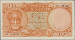 Greece / Griechenland: 10 Drachmai 1954, P.186a, Very Nice And Scarce Note With Two Strong Vertical - Greece