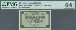 Greece / Griechenland: Ionian Islands 1 Drachma ND(1941), P.M11, PMG Graded 64 Choice Uncirculated E - Griekenland