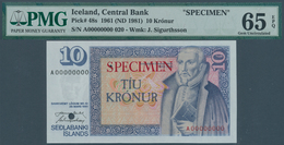 Iceland / Island: 10 Kronur L.1961 (1981) SPECIMEN, P.48s, PMG Graded 65 Gem Uncirculated EPQ - Iceland
