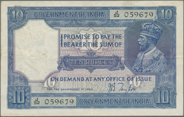 India / Indien: 10 Rupees ND P. 7b, Used With Vertical And Horizontal Fold, 2 Pinholes At Left, Cris - India