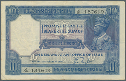 India / Indien: 10 Rupees ND(1917-30) With Signature Taylor, P.7b, Very Nice Looking Note With A Few - India