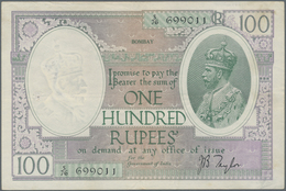 India / Indien: 100 Rupees 1930 P. 10b Issued In BOMBAY, Used With Light Vertical And Horizontal Fol - India