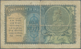 India / Indien: 1 Rupee ND Portrait KGV P. 14a In Stronger Used Condition With Strong Folds And Stai - India