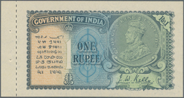 India / Indien: 1 Rupee ND Portrait KGV P. 14b With Counterfoil In Original Condition: UNC. - India