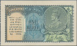India / Indien: 1 Rupee ND P. 14b, Portrait KGV, With Three Light Vertical Bends, No Holes Or Tears, - India