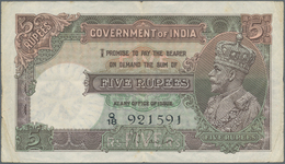 India / Indien: 5 Rupees ND Portrait KGV P. 15a, Used With Folds And Creases, Pinholes, No Repairs, - India