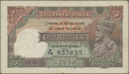 India / Indien: 5 Rupees ND(1928-35) P. 15b, Light Folds In Paper, Rounded Corners, 2 Pinholes, Stil - India