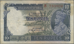 India / Indien: 10 Rupees ND Sign. Taylor, Portrait KGV P. 16a, Used With Several Folds In Paper, So - India