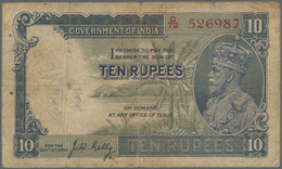 India / Indien: 10 Rupees ND(1928-32) P. 16b, Stronger Used With Strong Folds, Writings And Stain In - India