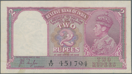 India / Indien: 2 Rupees ND(1937) P. 17a, Sign. Taylor, With 2 Light Vertical Bends, Minor Stain Tra - India