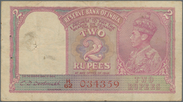 India / Indien: 2 Rupees ND(1943) P. 17b, Rarely Seen With RED TYPE Serial Number, Used With Folds A - India