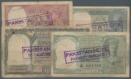 India / Indien: Very Nice Set With 4 Banknotes 1, 2, 5 And 10 Rupees 1940-43, P.17b, 23, 24, 25d. Al - India
