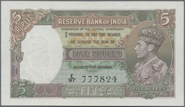 India / Indien: 5 Rupees ND(1937) With Signature: Taylor, P.18a, Without Pinholes, Just A Stronger C - India