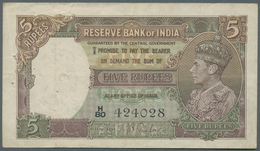 India / Indien: 5 Rupees ND(1937 & 1943) With Signature Taylor, P.18a, Several Folds, Tiny Pinholes - India
